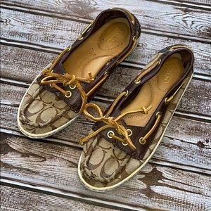 Coach Richelle Leather Boat Shoes.
